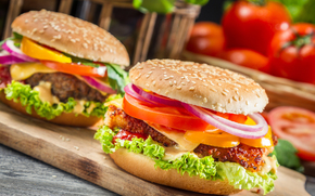food, onions, board, roll, vegetables, burgers, tomatoes, sesame, pepper, fast food, sandwiches, cheese, cutlet