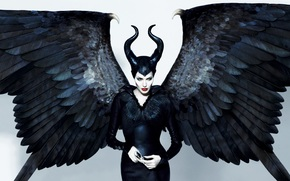 eye-Chameleon, Angelina Jolie, Maleficent, witch, Horns, Black, actress, wings, view