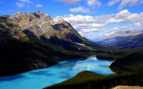 горы, лес, Альберта, Канада, озеро