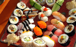 перец, рис, россыпь, имбирь, роллы, сашими, морепродукты, суши, сервировка, ломтики, японская кухня, грибы, зелень, Япония, красная рыба, лосось, васаби, икра, суси
