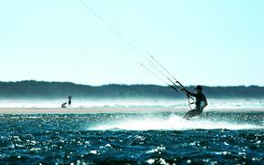 парашют, вода, спортсмен, спорт