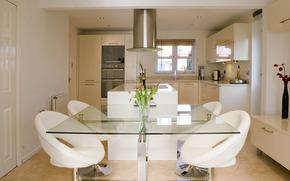 sedie, tavolo, cucina, vaso, Fiori