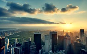 céu, Nuvens, parque, sol, Nova Iorque, pôr do sol, Prédios