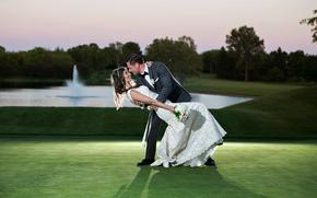 happiness, bride, groom, wedding