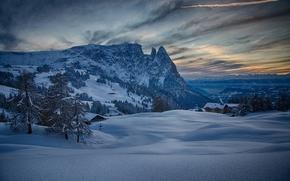 冬天, 山, 意大利, 雪