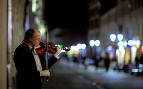 улица, скрипач, город, ночь