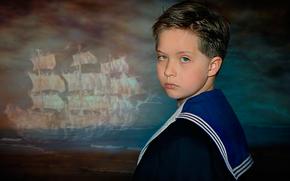 мальчик, мечты о море, парусник, юный моряк, гюйс