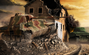 building, tank, panther, Sherman, Art, home, war, Germany
