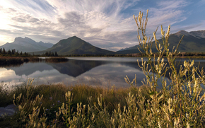 reflection, Mountains, summer, lake