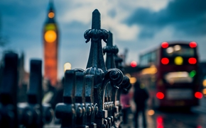огни, Великобритания, Лондон, автобус, Англия, боке, город, ограда, Биг-Бен, макро, люди, вечер, забор, ограждение