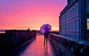 ciudad, chica, paraguas
