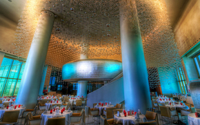 colonne, Restaurant, hôtel, salle à manger, hôtel
