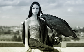 девушка, чб, орёл