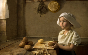cook, ♛, stylization, imitation, art style, Renaissance, girl