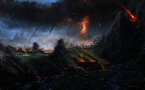 деревья, вулкан, природа, дым, гора, арт, лава