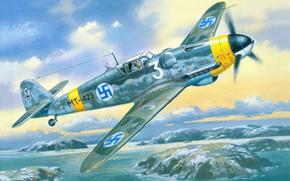 Art, German, Finnish Air Force, war, single-engined, piston, profascist, fighter, sky