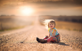 wind, SPACE, hair, road, dress, girl