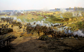 panorama, The Battle of Borodino, cavalry, painting, regiment, web, creek, fragment, canvas, Franz A. Roubaud, Art, French, at, Patriotic War, Russian, battle, oil., reflect, panoramist, guards, great