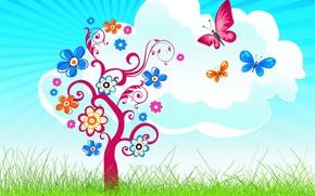 облако, трава, дерево, бабочки, цветочки