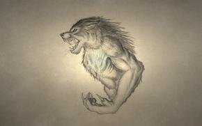 оборотень, волк, рычит