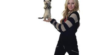 Avril Lavigne, designer, style, actress, animal, singer, multpersonazh, Canada, white background, representation, installation