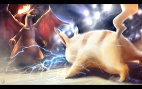 pokemon, fuego, Charizard, luchar, electricidad, Pikachu