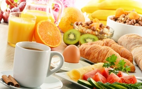 coffee, fruit, cheese, food, cinnamon, tomatoes, vegetables, croissants, muesli, cucumbers, oranges, juice, kiwi, breakfast