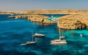 Yacht, Rocks, sea, Malta