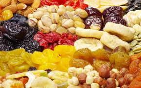 hazelnut, dried apricots, pistachios, Useful, dried fruits, almonds, figs, sunflower seeds, raisins, prunes, food, nuts
