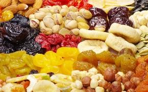 фундук, курага, фисташки, полезная, сухофрукты, миндаль, инжир, семечки, изюм, чернослив, еда, орехи