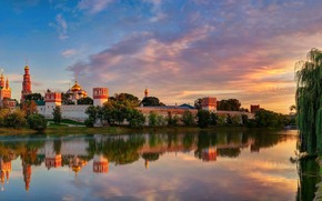 sky, light, clouds, summer, Moscow, August, city, reflection, Novodevichy Monastery Virgin of Smolensk
