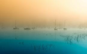 утро, туман, озеро, пейзаж, лодки