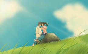 дух реки, тихиро, аниме, Хаяо Миядзаки, арт, хаку, облака, девушка, унесенные призраками, природа, парень