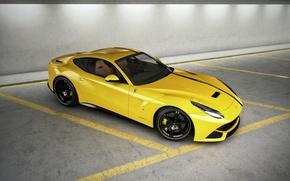 giallo, vista dall'alto, Ferrari, Ferrari, parcheggio, banda
