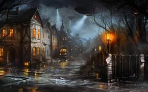 macchina, luci, sera, strada, domestico, città