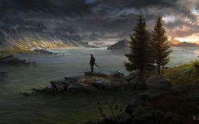 spada, scudo, crepuscolo, fiume, uomo, guerriero, Montagne, alberi, paesaggio dipinto, Art