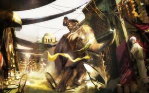 eastern, situation, market, elephant, on, chase, Adventures, art., on horseback, Indiana Jones