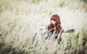 девушка, азиатка, гитара, музыка