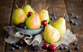 голубика, фрукты, черешня, натюрморт, ежевика, ягоды, груши