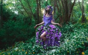 макияж, одежда, девушка, лес, цветы, Фантастические видения