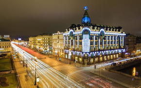 Russia, street, spb, Nevsky Prospect, petersburg, night, Singer, Peter, building, home, lights