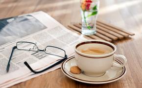 очки, стакан, цветок, газета, пена, кофе, стол