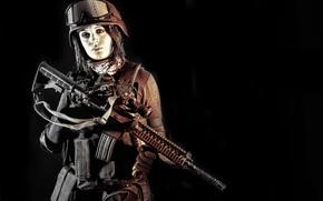 экипировка, винтовка, девушка, каска, очки, штурмовая