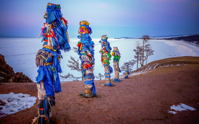 Shaman rock pole, Olkhon, Island Lake Baikal