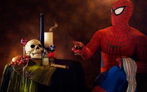 человек паук, сигара, выпивка, юмор, череп