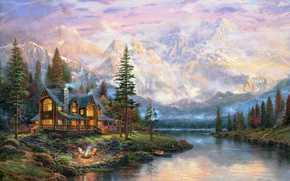стулья, лодка, костер, огонь, гамак, живопись, крест, горы, туман, коттедж, лес, олени, дом, Томас Кинкейд, река