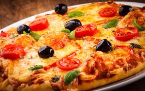 măsline, pizza, brânză, roșii, pui, alimente, fel de mâncare