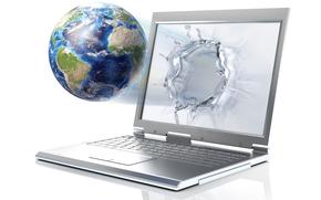 hi-tech, notebook, land, monitor, Rendering, planet, drops, water