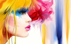блондинка, цвет, стиль, девушка, профиль