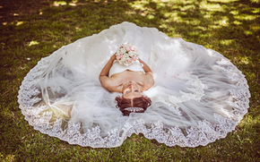 sposa, matrimonio, vestire, bouquet